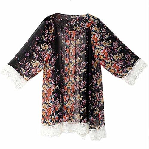 4 Femmes Dames Cardigan Transer en vrac 3 Femme Mode Manteaux Imprim Fille manche Kimono fq417H10w