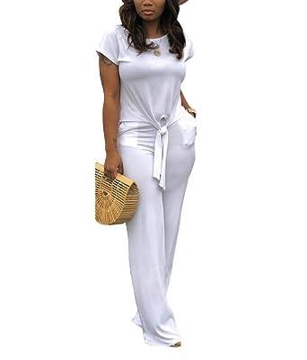 Andopa Pantalones sólido de color corto-manga de la blusa del nudo ...