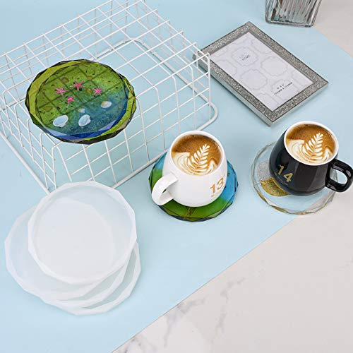 ZeMooon 4 Pack Coaster Molds for Resin Casting, Diamond Edge Round Mold, Epoxy Resin Silicone Large Tray Mold