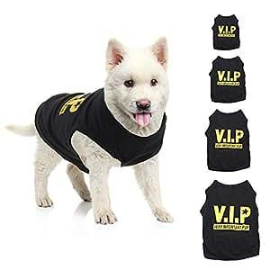 Paleo VIP Pet Vest Dog Puppy T Shirt Very Important Pup Black Clothing Waistcoat