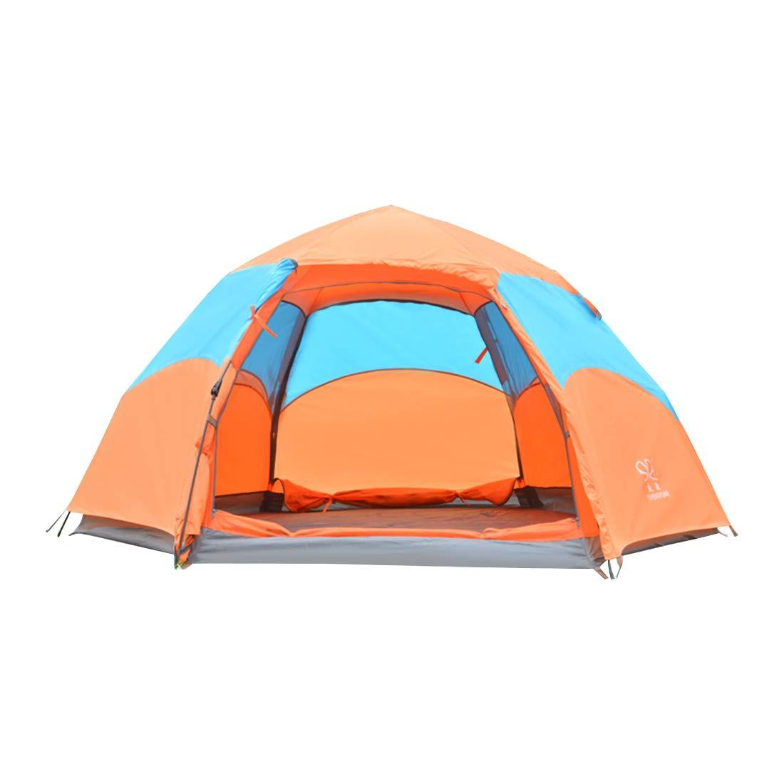 Sakuldes Regendichtes Zelt für Camping im Freien, 3 oder 4 Personen Zelt (Farbe : Orange)