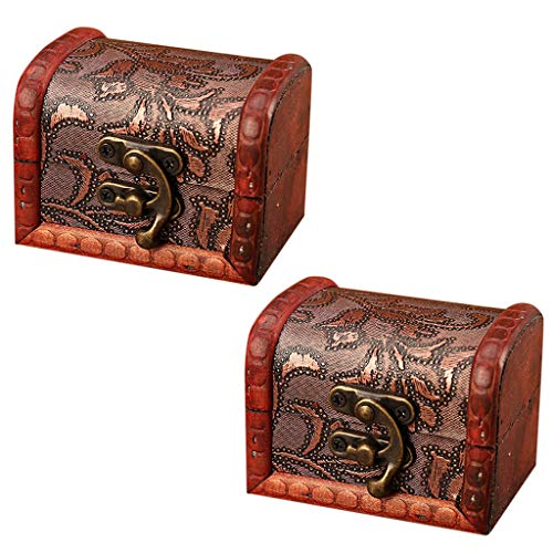 2Pcs Jewelry Box Vintage Handmade Wood Box With Mini Metal Lock For Storing Jewelry Treasure Pearl