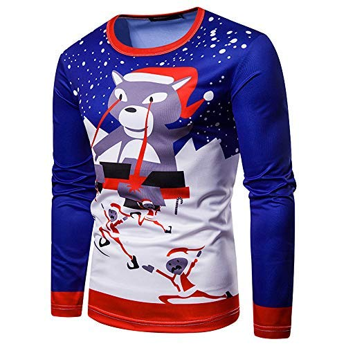 - Pitauce Men Christmas Cute Cat Printing Tops,Men's Long-Sleeved T-Shirt Blouse (S, Multicolor)