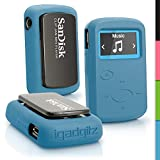 iGadgitz Blue Rubber Silicone Case for Sandisk Sansa Clip Jam MP3 SDMX26-008G (2015) Gel Skin Cover