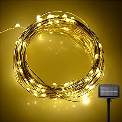 [Upgrated Version] INST 200 LED 72ft Solar Powered LED Fairy String Lights Waterproof Starry Copper Wire Ambiance Lighting for Outdoor Landscape Patio Garden Bedroom Party Wedding (Warm White)