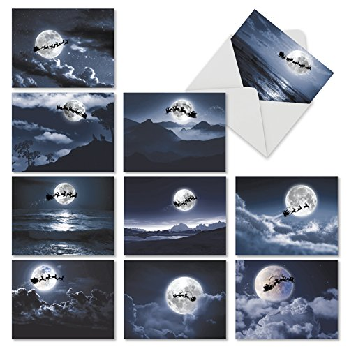 """10 Assorted 'Sleigh Moon' Merry Christmas Cards with Envelopes (Mini 4"""" x 5.25""""), Boxed Holiday Greeting Note Cards Featuring Santa's Sleigh Silhouetted Against the Full Moon ()"""