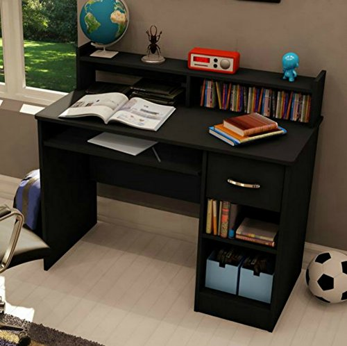 South Shore Small Desk - Great Writing Desk for Your Child - The Computer Desk Is Great for Your Kid's Bedroom or Any Small Area - Place a Laptop in (Black Kids Desk)