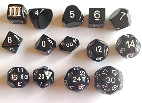 14 Unusual Dice Set Approved for Use with Dungeon Crawl Classics - Black