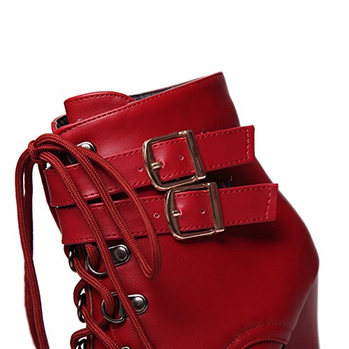 Platform amp;N Womens Red Leather Imitated Stiletto Multilayer Boots A Metal Strap UwqEBURv