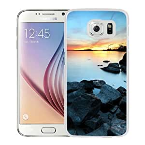 Beautiful Unique Designed Samsung Galaxy S6 Phone Case With Industrial Town Lake Sunset_White Phone Case