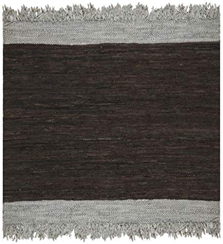 Safavieh Vintage Leather Collection VTL310B Hand-Woven Light Grey and Dark Brown Area Rug (6' ()