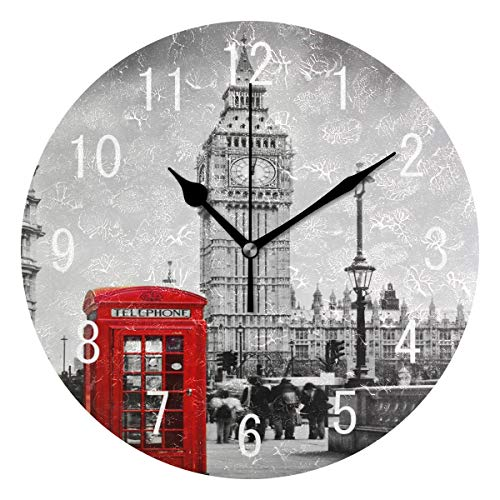 Wood Clock Striped (ALAZA Home Decor Retro Telephone Booth Big Ben London Striped Round Acrylic Wall Clock Non Ticking Silent Clock Art for Living Room Kitchen Bedroom)