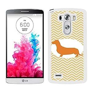 Funda carcasa para LG G3 diseño perro salchicha silueta estampado zigzag zig-zag borde blanco
