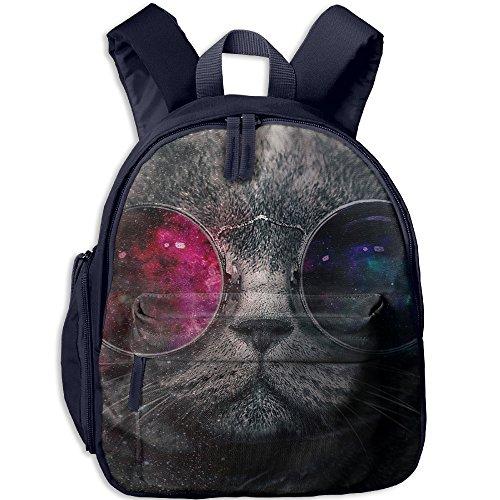 Galaxy Cat With Sunglass Boys & Girls School Backpack Bag Have Double Zipper - Pattinson Robert Sunglasses