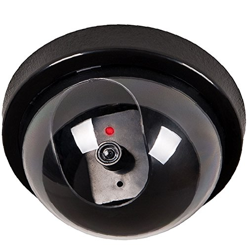 WALI Dummy Fake Security CCTV Dome Camera with Flashing Red LED Light With Warning Security Alert Sticker Decals (SD-1), Black