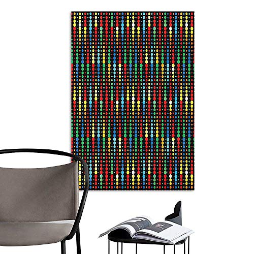 Wall Sticker self-Adhesive Colorful Geometric Polka Dots Composition with Halftone Pattern on Dark Toned Background Multicolor Mural Blackboard DIY White W8 x H10 -