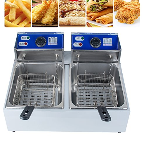Wing Dual (Zinnor Deep Fryer 5000W, 11L Dual Tanks Deep Fryer Commercial Tabletop Fryer Temperature Control, Removable Oil Bowl, 304 Food Grade Stainless Steel)