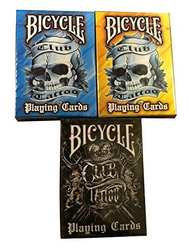 BICYCLE CLUB TATTOO PLAYING CARDS 3 DECK SET