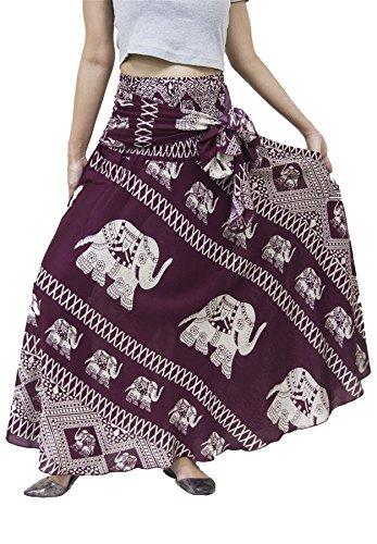 - Lofbaz Women's Long Bohemian Maxi Skirt Hippie Gypsy Boho Dress Design #3 Burgundy One Size