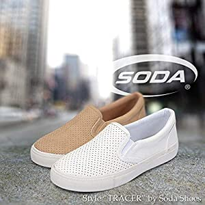 SODA Women's Slip On Flat Shoes (9, Nude Pu)