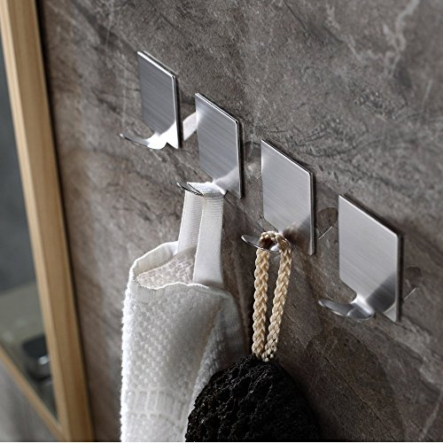Adhesive Hooks,Heavy Duty 3M Hooks Stainless Steel Waterproof Wall Hooks for Robe Coat Towel Keys Bags-Home Kitchen Bathroom 4-pack Photo #8