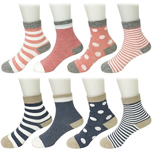 Bowbear 8 Pair Baby Dots and Stripes Socks, Pink & Blue