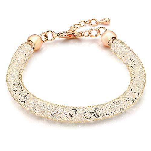 Mytys Rose Gold Mesh Bracelet Clear CZ Crystal Charm Link Bangle Bracelet for Women Girl Christmas Day Gifts 7.5