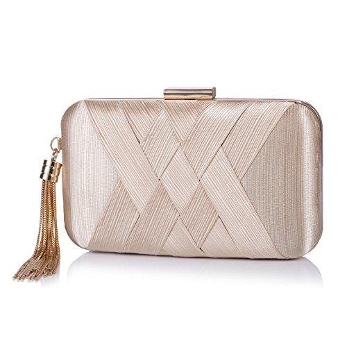 Chichitop Women's Elegant Tassel Pendant Evening Party Clutch Bags Wedding Purse (Golden) (Purse Silk Handbag)
