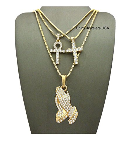 MENS ICED OUT GOLD JESUS PRAYING HAND, CROSS, ANKH PENDANT BOX CHAIN NECKLACE SET OF 3 (Box chain Gold)