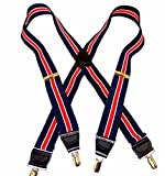 HoldUp Navy & Red Stripe with Ivory accent stripe Suspenders in X-back Style with Patented No-slip Gold Tone Clips