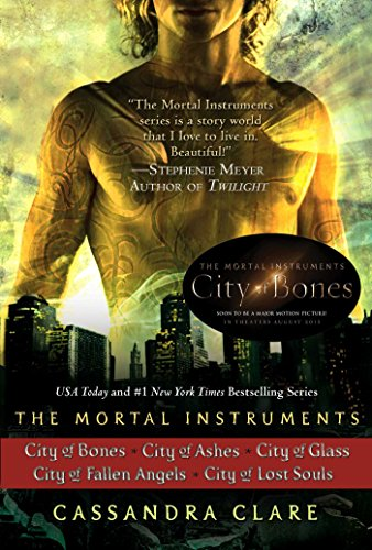 - Cassandra Clare: The Mortal Instruments Series (5 books): City of Bones; City of Ashes; City of Glass; City of Fallen Angels, City of Lost Souls