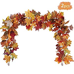 Silk Flower Arrangements OUTLEE 2Pack Fall Maple Leaf Garland Hanging Fall Leaves Vine Artificial Autumn Foliage Garland Thanksgiving Decor for Home Wedding Party Christmas