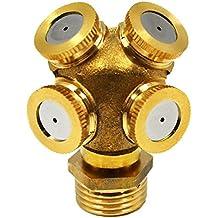 "actoper Misting Nozzles Adjustable Garden Sprinkler Hose Nozzle 1/2"" Internal Thread 1/4"" External Thread Brass-4 head nozzles-Garden Hose Nozzle Copper"