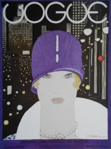 Cloche Trim (Young blonde wearing purple cloche, pearls and white fur trim, backed by city nightlights, looks out evocatively at viewer - Artwork by Georges Lepape - 15 March 1927 - Vogue / Penguin - Postcard Print)