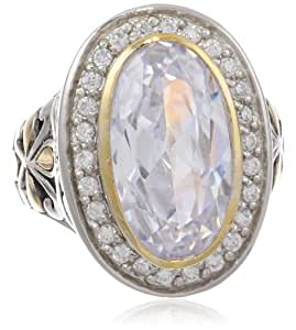 Goldtone finish and Silvertone Oval Clear Cubic-Zirconia Ring, Size 8