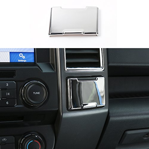 BORUIEN Car Central Console Power Outlet Panel Cover ABS Interior Decoration Stickers Decor Frame Trim For Ford F150 2015 Up (Chrome Silver)