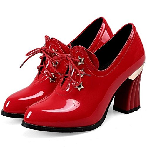 Chic Up Red Size Shoes Lace Extra Women's TAOFFEN waqt44