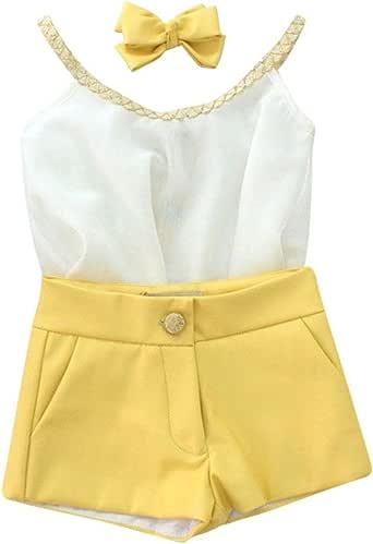 Weixinbuy Girls' Little Sling Chiffon Sleeveless Vest + shorts 2pcs Clothing Set