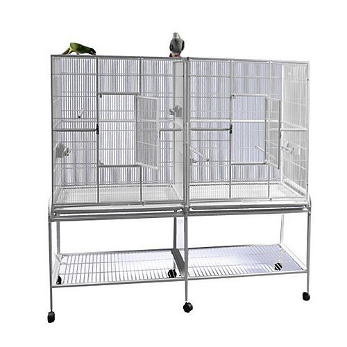 Double Flight Bird Cage with Divider Color: Sandstone