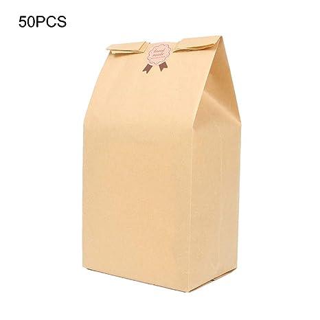 Asdomo 50 bolsas de papel para pan con ventanas duraderas ...