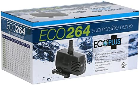 EcoPlus 132 GPH Aquarium Submersible Water Pump w// 6 ft Power Cord 728495 Pond Fountain 492 LPH, 10W Fish Tank Hydroponics