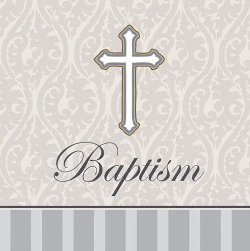 Creative Converting Devotion Cross Baptism Lunch Napkins, Silver, 48 Count