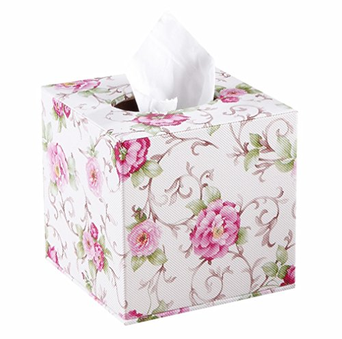 S Forever Home Decor Flower Pattern Faux Leather Tissue Box Cover (Square)