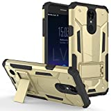 lg 3 gold - LG Aristo 2 X210 / Tribute Dynasty SP200 / K8 (2018) case, Luckiefind Premium Hybrid Dual Layer Case with Stand, Stylus Pen, Screen Protector Accessory. (Stand Gold)