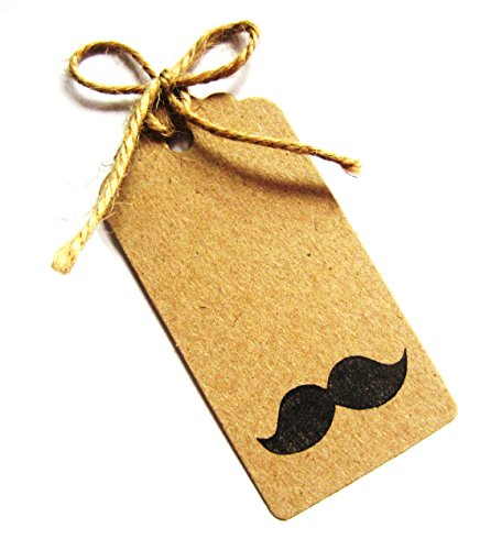 Mustache Gift Tags (12 Hand Stamped Mustache Gift Tags / Hang Tags / Wedding Favor Tags with Jute Twine - 90mm x 44mm)