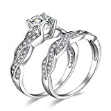 JewelryPalace 1.5ct Infinity Cubic Zirconia Anniversary Promise Wedding Band Engagement Ring Bridal Set 925 Sterling Silver Size 7.5