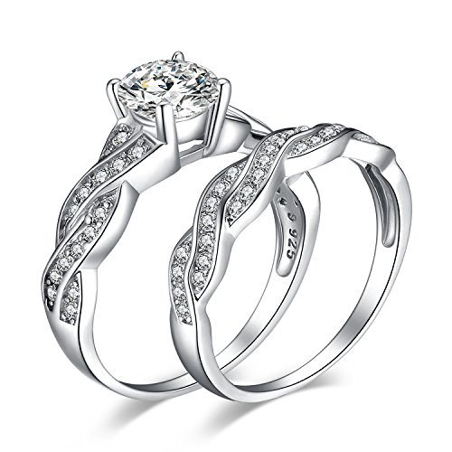 JewelryPalace Wedding Bands Rings Engagement Rings Anniversary Promise Rings 925 Sterling Silver Rings 1.5ct White Cubic Zirconia X Infinity CZ Rings For Women Size 7 ()