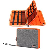 Travel Organizer Bag ATailorBird,Spill-Resistant Storage Bag Double Layer Portable for Cables,Earphones,Hard Drives,Power Banks, Adapters or Other Electronics Accessories (Gray-Orange)