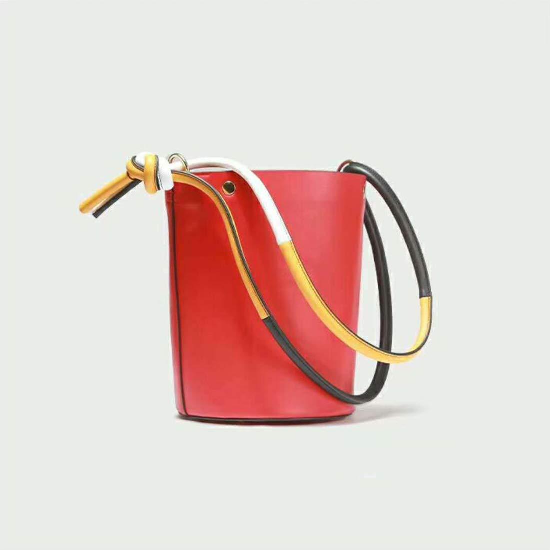 YUKILO Bucket Type Shoulder Bag Tote Bag Korea Fashion Large Capacity Ladies Cowhide Color : Red