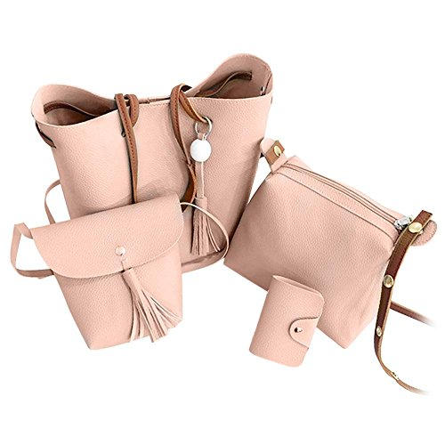 Clutch Handbag Sets Bag Purse Women Tote Domybest Bags Women Set Tassel Shoulder PU Card Leather 4pcs Fashion Pink Bag wRR7qO14